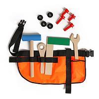 Набор инструментов с поясом (молоток, ключ, отвертка, уголок, болты, гайки)