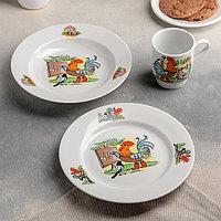 Набор посуды 'Школа', 3 предмета тарелка d20 см. миска d20 см,кружка 210 мл (комплект из 4 шт.)