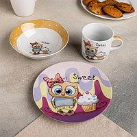 Набор детской посуды Доляна 'Совёнок', 3 предмета кружка 250 мл, миска 400 мл, тарелка 18 см