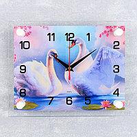 Часы настенные, серия Животный мир, 'Пара лебедей', 20х26 см микс
