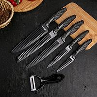 Набор 'Пантера', 6 предметов ножи 19 см, 23 см, 32 см, 32 см, керамическая овощечистка, 32x4 см, цвет чёрный
