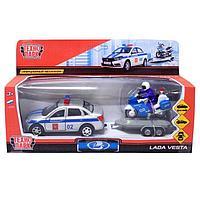 Машина металлическая инерционная 'Lada Vesta. Полиция' с мотоциклом, 12 см