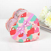 Коробка подарочная сердце Happy day со светодиодом, 15х12х15 см