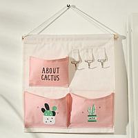 Органайзер с карманами подвесной Доляна 'Кактус', 3 отделения, 30x34 см, цвет розовый
