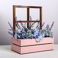 Кашпо флористическое с окном, морилка, 15 x 9 x 25 см