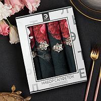 Набор салфеток с декорат. кольцами 'Rose' 46х46см - 4 шт, 100 хл, саржа 190гр/м2