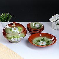 Набор посуды 'Деревенский' 6 предметов супница, блюдо, 4 миски, зеленая ромашка