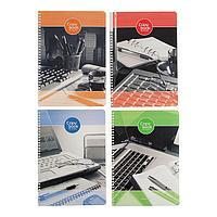 Тетрадь А4, 96 листов в клетку, на гребне 'Деловой офис', картонная обложка , МИКС (комплект из 4 шт.)