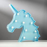Светильник настольный 'Единорог' LED 10Вт 2хAA голубой