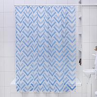 Штора для ванной комнаты Доляна 'Чешуя', 180x180 см, EVA, цвет синий