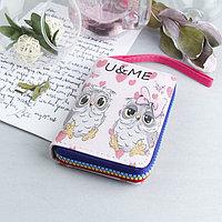 Кошелёк женский, 2 отдела, для карт, для монет, с ручкой, цвет розовый