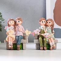 Сувенир полистоун 'Дети на скамейке' МИКС 10,5х7,7х4,5 см