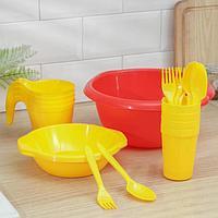 Набор посуды 'Праздничный' 4 стакана, 4 кружки, 4 тарелки, миска 3,5 л, 4 вилки, 4 ложки, цвет МИКС