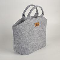 Термо-сумка 4.5 л, на молнии, войлок, светло-серый 28х15х24 см