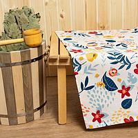 Простыня для бани 'Цветочное поле' 150х180±5 см, 100 хлопок, вафельное полотно, 160 гр/м2