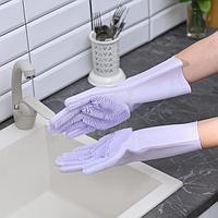 Перчатки хозяйственные для мытья посуды и уборки дома, размер L, 170 гр, цена за пару, цвет МИКС