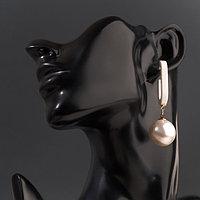Серьги с жемчугом 'Грейс' с вставкой из пластика, цвет белый в золоте, шар 20