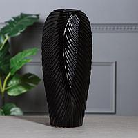 Ваза настольная 'Перо', чёрная, керамика, 38 см