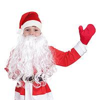 Набор детский'Новогодний'колпак красный,варежки, борода,плюш,р-р 53-56