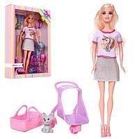 Кукла-модель 'Анастасия' с питомцем, коляской и аксессуарами, МИКС