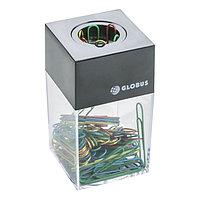 Диспенсер для скрепок GLOBUS, магнитный (скрепки цветные 70 шт., 50 мм)