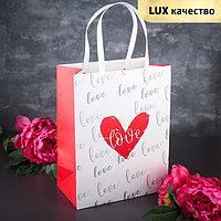 Пакет ламинированный 'Любовь', белый с красным, люкс, 31 х 13 х 24 см (комплект из 12 шт.)