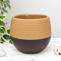 Горшок для цветов 'Япония' 3 л, цвет оранжевый-тёмно-коричневый