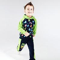 Толстовка для мальчика, цвет зелёный/тёмно-синий, рост 104-110 см (36)