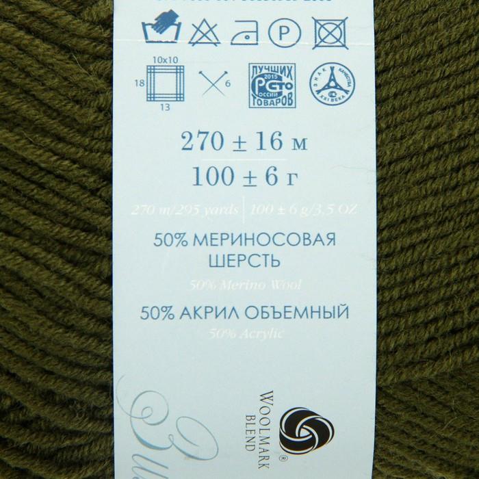 Пряжа 'Перспективная' 50 мериносовая шерсть, 50 акрил объёмный 270м/100гр (10-Тайга) - фото 3