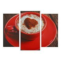 Картина модульная на подрамнике 'Кофе в красной кружке' 2шт-25,5*50,5,30,5*60см , 60х100 см