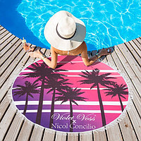 Полотенце пляжное круглое Этель 'Пляж', диаметр 150 см, 100 п/э