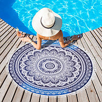 Полотенце пляжное круглое Этель 'Мантры', диаметр 150 см, 100 п/э