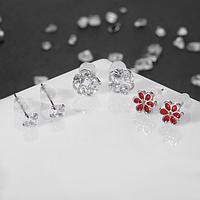 Серьги набор 3 пары 'Цветы' лето, цвет бело-красный в серебре