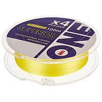 Плетёная леска ONE SUPERIOR Х4-yellow, 100 м, d0,14 мм