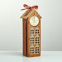 Коробка деревянная, 13.5x11.5x36.5 см 'Любимой мамочке!', подарочная упаковка, мокко