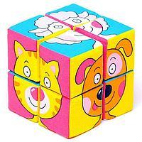 Набор мягких кубиков 'Собери картинку.Зверята'