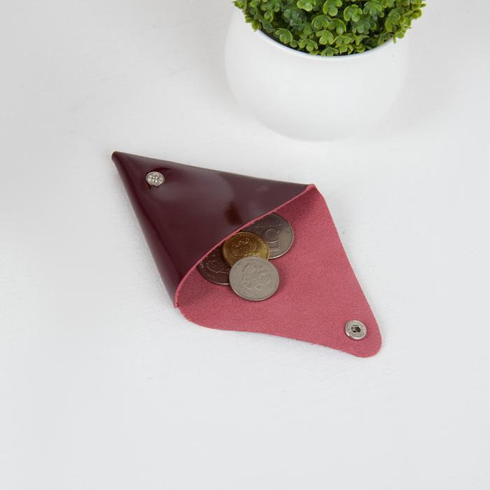 Футляр для монет/наушников на кнопке, цвет бордовый - фото 3