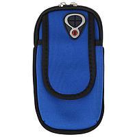 Чехол для мобильного телефона на руку, закрытый, 11х9см, тканевый, синий