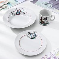 Набор посуды 'Далматинцы', 3 предмета кружка 200 мл, тарелка глубокая 230 мл, d20 см, тарелка мелкая d17 см,