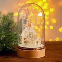 Настольный декор с подсветкой 'Дом и снеговик' 19х10х10 см