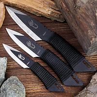 Набор ножей 'Оружие мастера', в оплётке, 3 шт., чёрные,