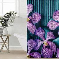 Штора для ванной комнаты Доляна 'Камни и цветы', 180x180 см, полиэстер