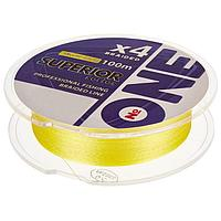 Плетёная леска ONE SUPERIOR Х4-yellow, 100 м, d0,18 мм