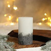 Свеча интерьерная белая с бетоном, 13 х 7 см