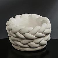 Кашпо гипсовое 'Вязка', цвет белый, 13 x 7.5 см
