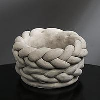 Кашпо гипсовое 'Вязка', цвет серый, 13 x 7.6 см