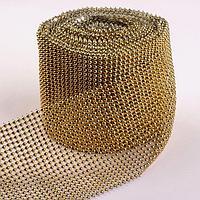 Лента с имитацией выпуклых страз, 11,5 см, 9 ± 1 м, цвет золотой