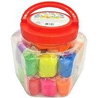 Тесто для лепки 24 цвета, 840 г, 'Игротека' в пластиковом ведре + 6 штампов