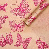 Бумага упаковочная крафт 'Мотыльки розовые', 0,72 х 10 м, 40 г