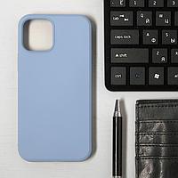 Чехол LuazON для телефона iPhone 12/12 Pro, Soft-touch силикон, голубой